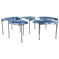 Striated Sodalite Stone Top Tables with Nickel-Plated Bases