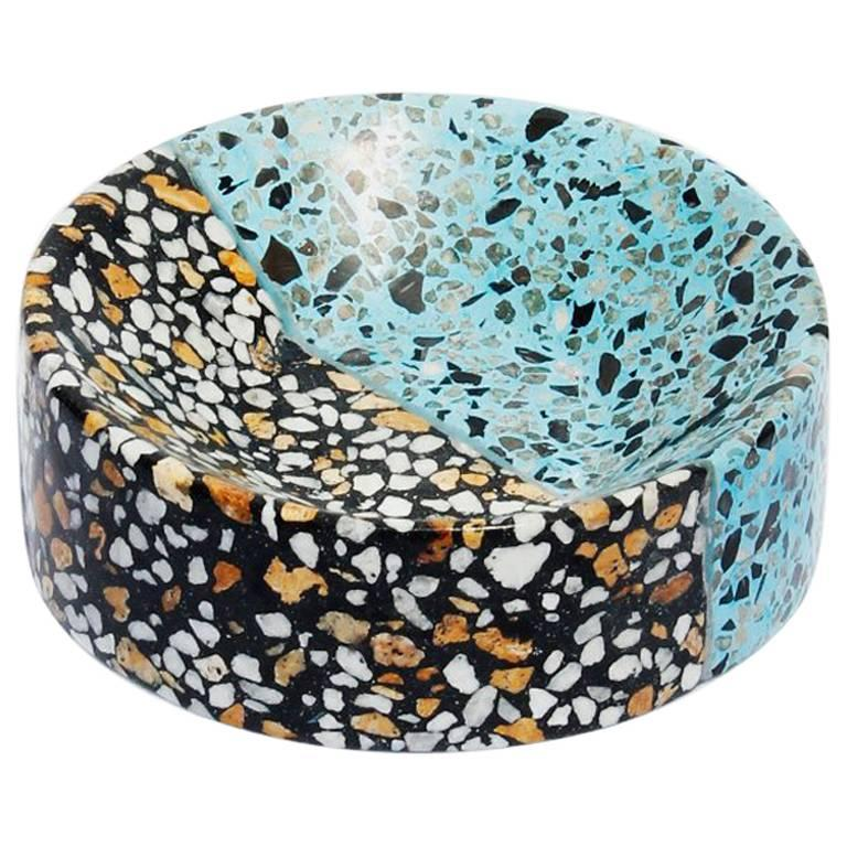 Pin Tray / Ashtray Multi-color Terrazzo Stone Contemporary Style (Mini) For Sale