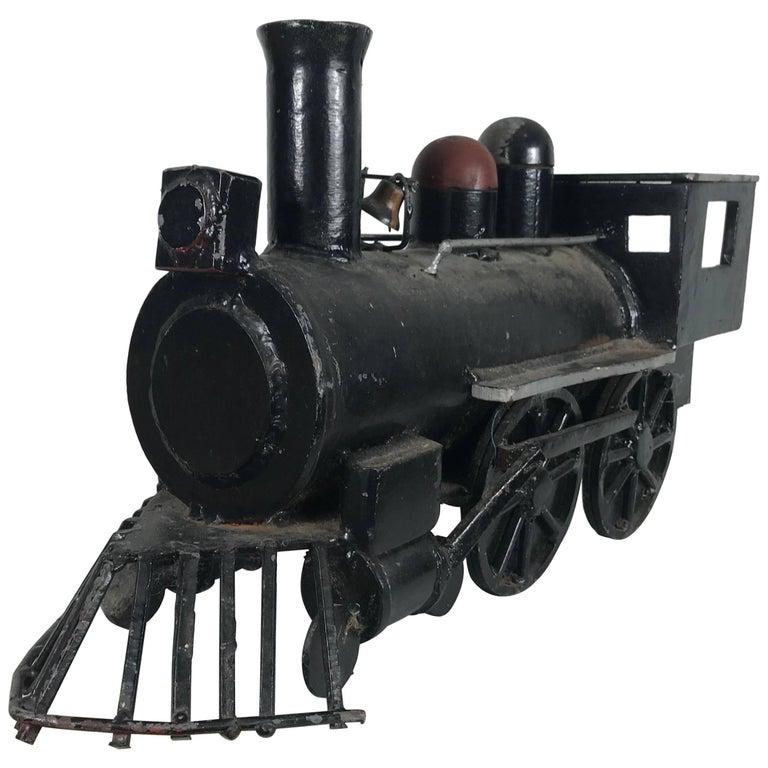 Unusual Iron Welded Handmade Folk Art Locomotive, Train For Sale