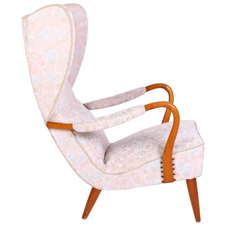 1940s Swedish Wingback Lounge Chair