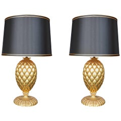 Pair of York Gold Leaf Lamps by Bryan Cox