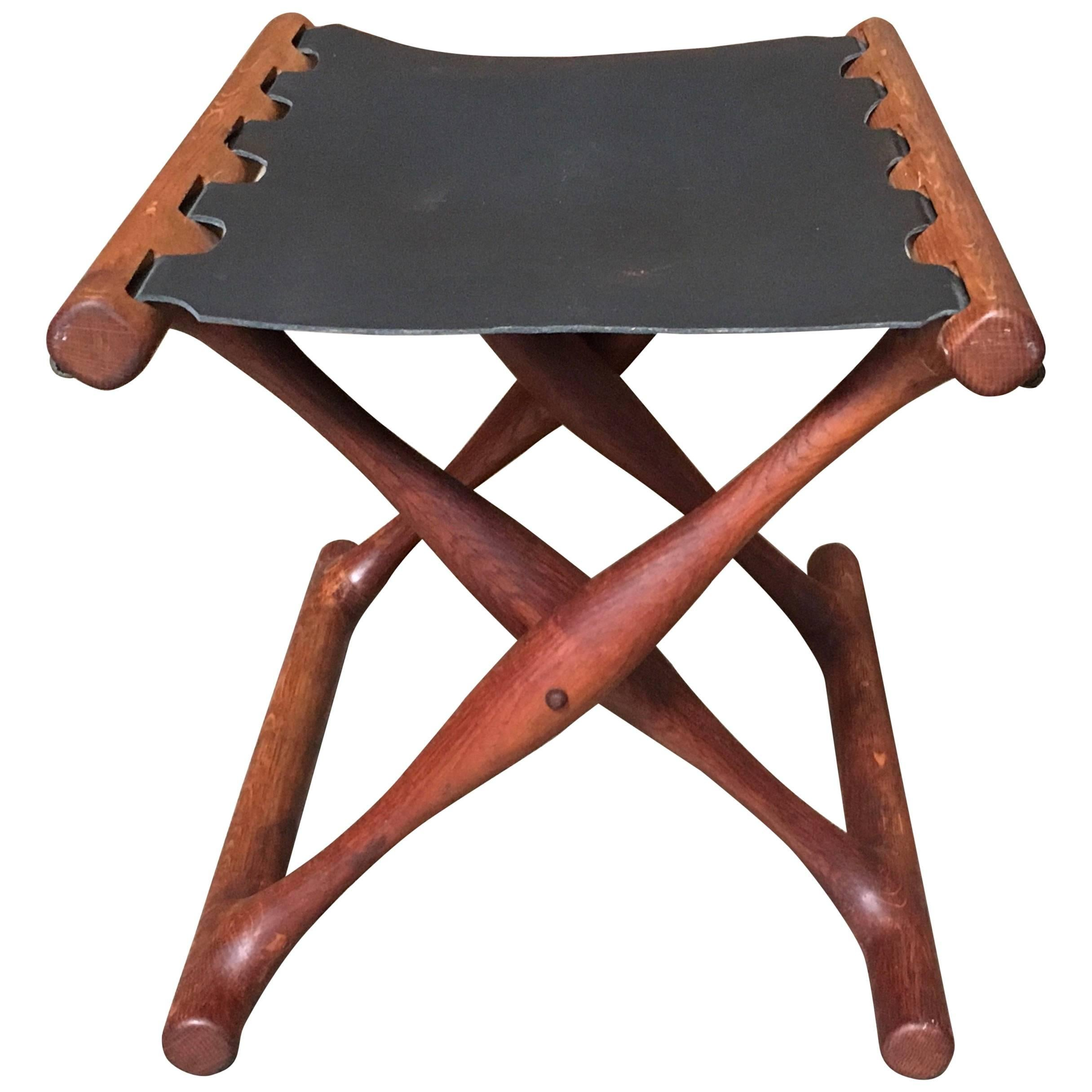 Gold Hill Folding Teak Stool Denmark By Poul Hundevad At 1stdibs