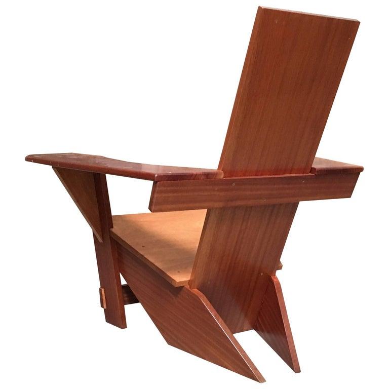 Studio Crafted Mahogany Adirondack Chair
