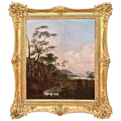 Continental Oil on Cradled Wooden Panel Landscape in Gilt Frame