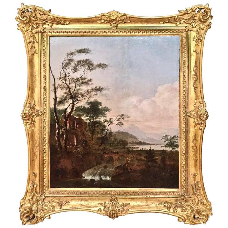 Continental Oil on Cradled Wooden Panel Landscape in Gilt Frame