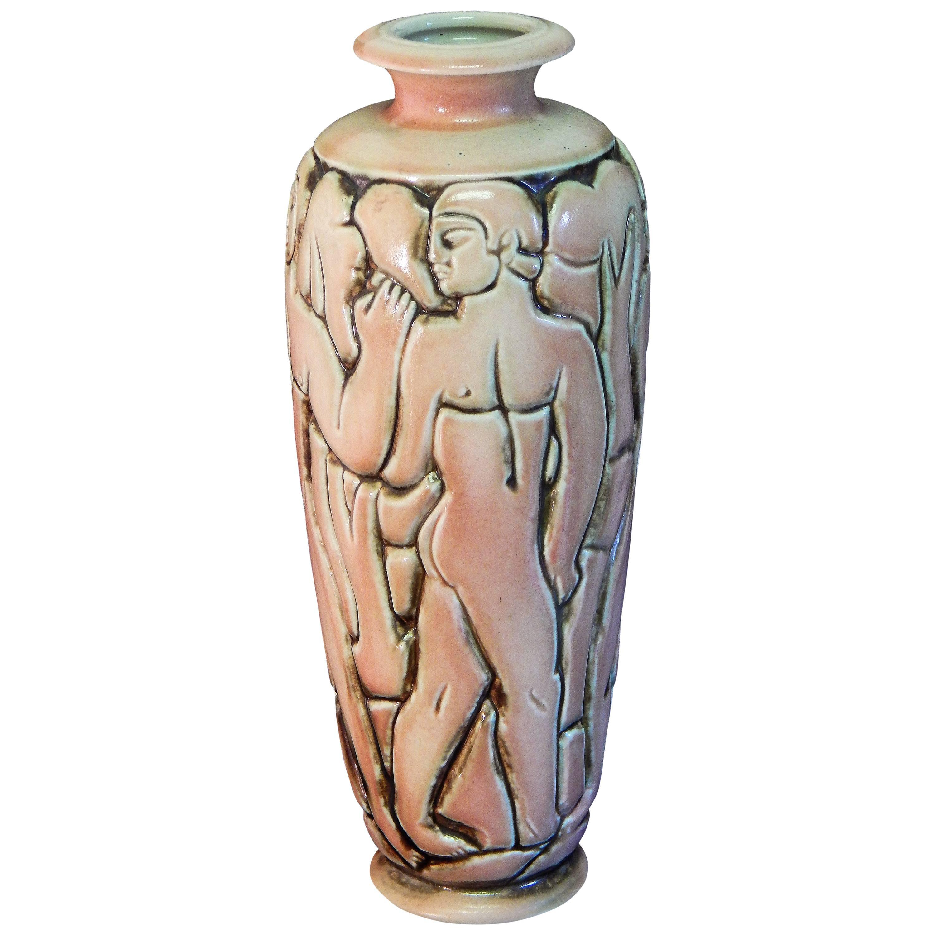 """""""Frieze of Male Nudes,"""" Large, Highly Rare Art Deco Vase by Goor for Mougin"""
