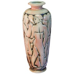 """Frieze of Male Nudes,"" Large, Highly Rare Art Deco Vase by Goor for Mougin"
