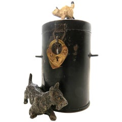 "Spelter Still Bank ""Dog and Cat by Dustbin"", German, circa 1920"