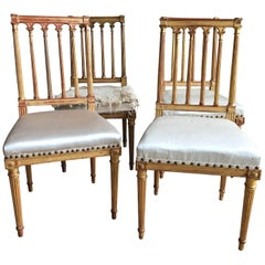 Set of Four, Louis XVI Style, Gilded Side Chairs, circa 1940