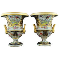 Pair of Campana Vases, Dublin Decorated, Derby Porcelain Works, circa 1810