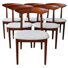 Set of Six Kurt Ostervig Inlaid Solid Teak Curved Back Dining Chairs, Denmark