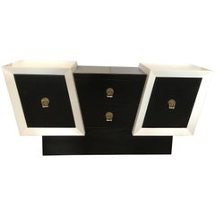 Unusual Diagonal Black and White Lacquer Oak Credenza
