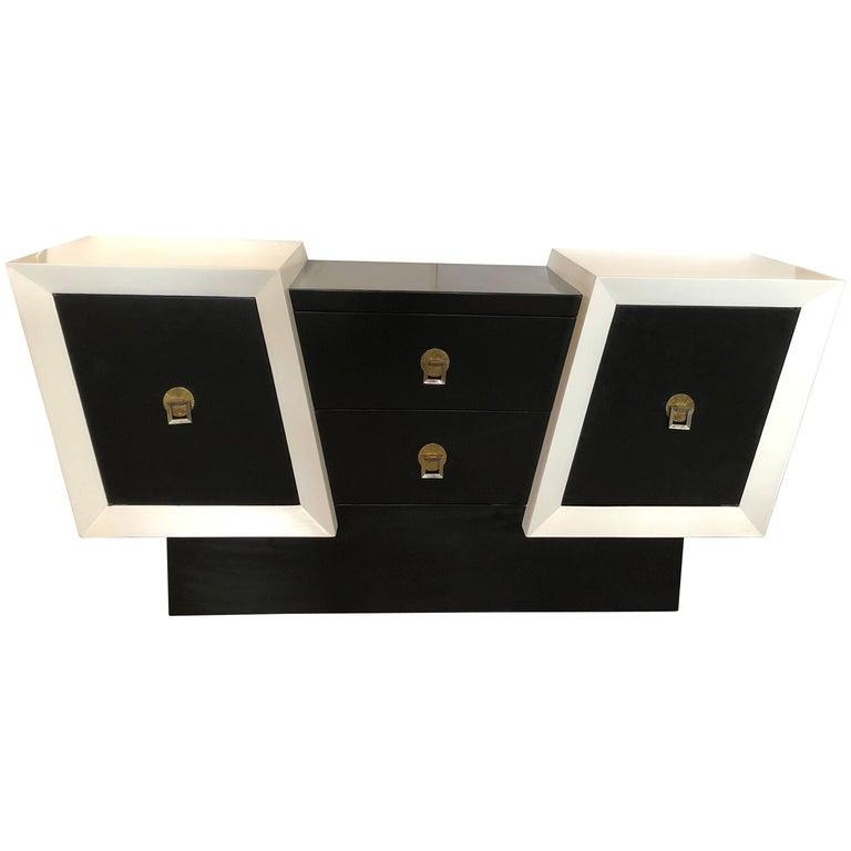 Unusual Diagonal Black and White Lacquer Oak Credenza For Sale