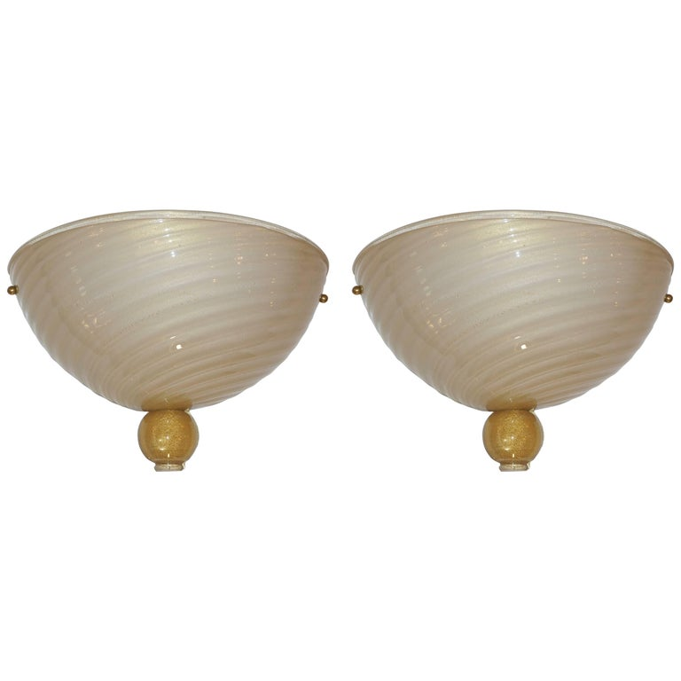 Anfora 1970s Italian Art Deco Design Pair of Ivory Gold Murano Glass Wall Lights