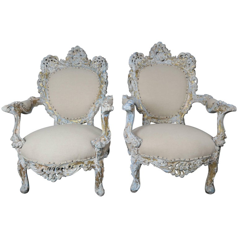 19th Century Painted and Parcel-Gilt French Armchairs, Pair