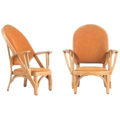 Norman Ridenour Bentwood Low Armchairs, Signed and Dated, 1978