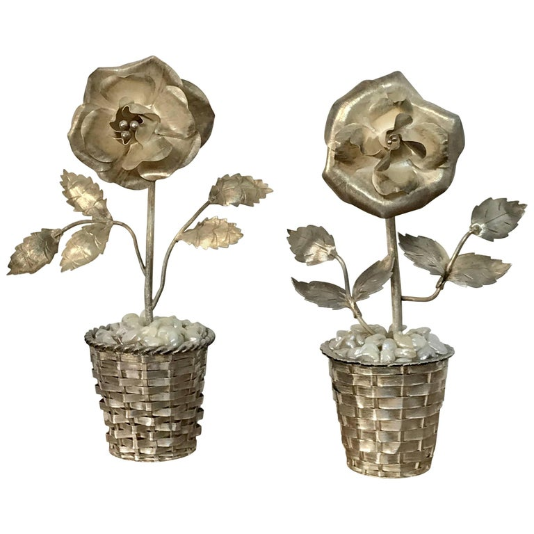 Pair of Sterling and Mother-of-Pearl Floral Topiaries