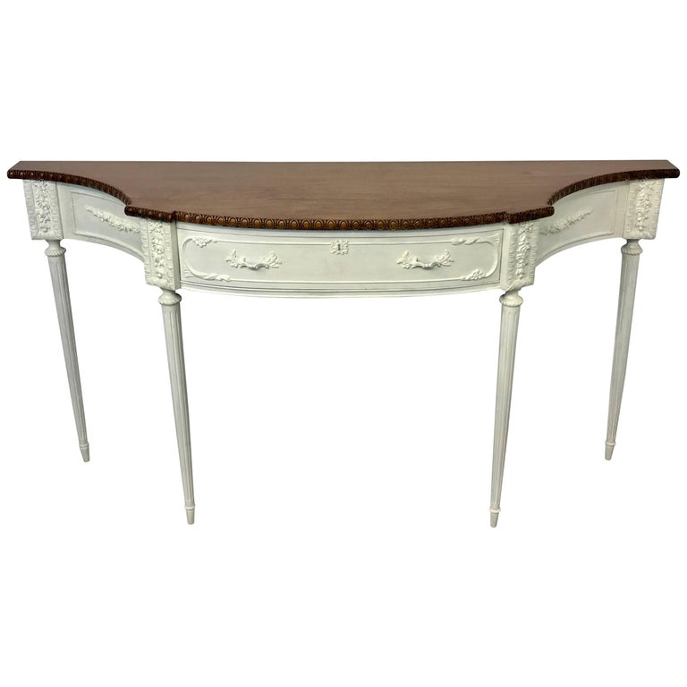 French Mahogany and Ivory-White Painted Console