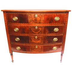 19th Century Sheraton Four-Drawer Inlaid Bowfront Chest of Drawers