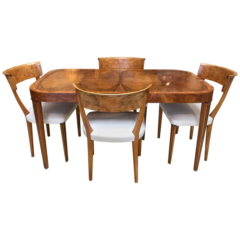 Art Deco Burr Elm Dining Table And Four Chairs For