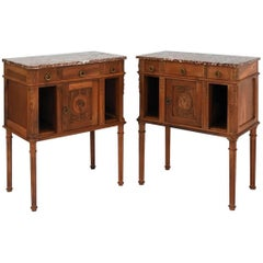 Side Cabinets Bedside Tables Nightstands French 19th Century Louis Walnut, Pair