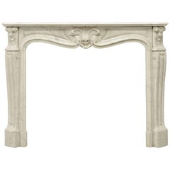 Antique Louis XV Style Fireplace Mantel in Carrara White Marble, 19th Century