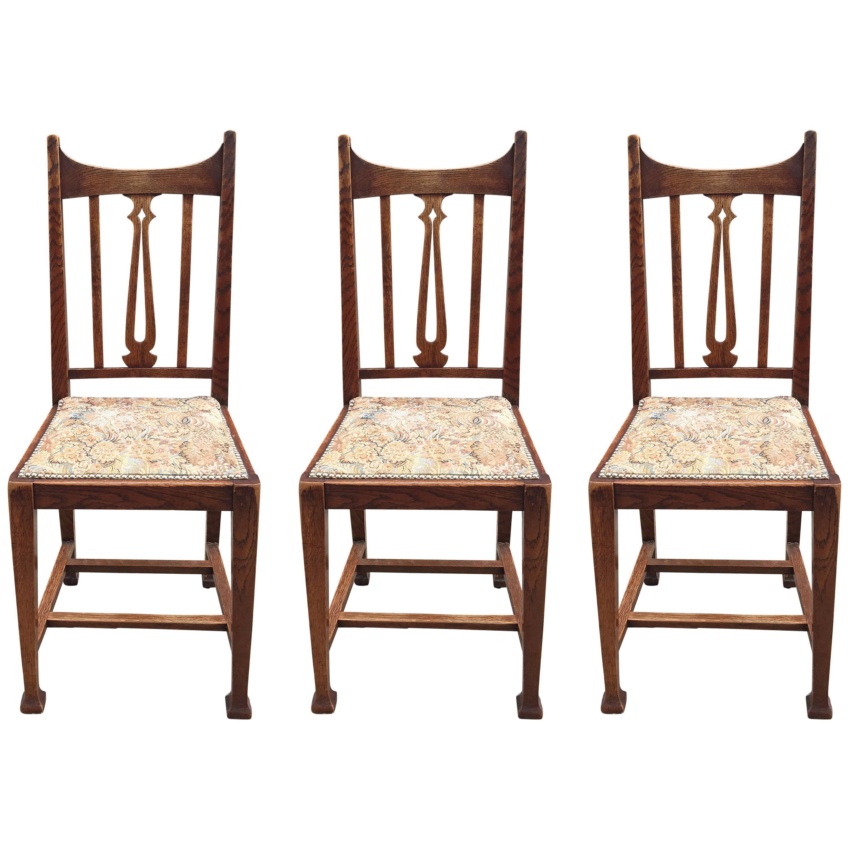 Art Nouveau Period, Three Chairs in Oak, Belgium, circa 1900