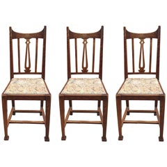 Art Nouveau Period, Three Chairs in Oak, Belgium, circa 1900