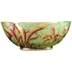 Baccarat Jardinière, Moss-Colored Cased with Pink/Red Crystal, Etched & Gilded