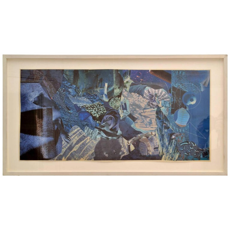 Abstract Collage Art in Tones of Blue by Bill Allan