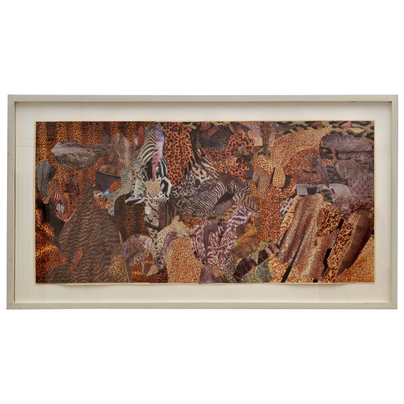 Abstract Collage Art in Brown by Bill Allan, UK, 1993