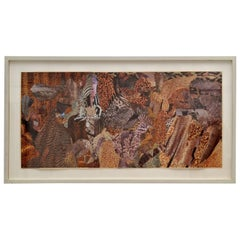 Abstract Collage Art in Tones of Brown by Bill Allan, UK, 1993