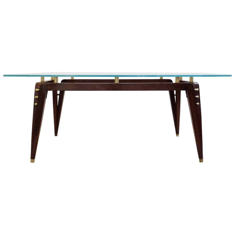 Italian Rosewood, Brass and Glass Table or Desk