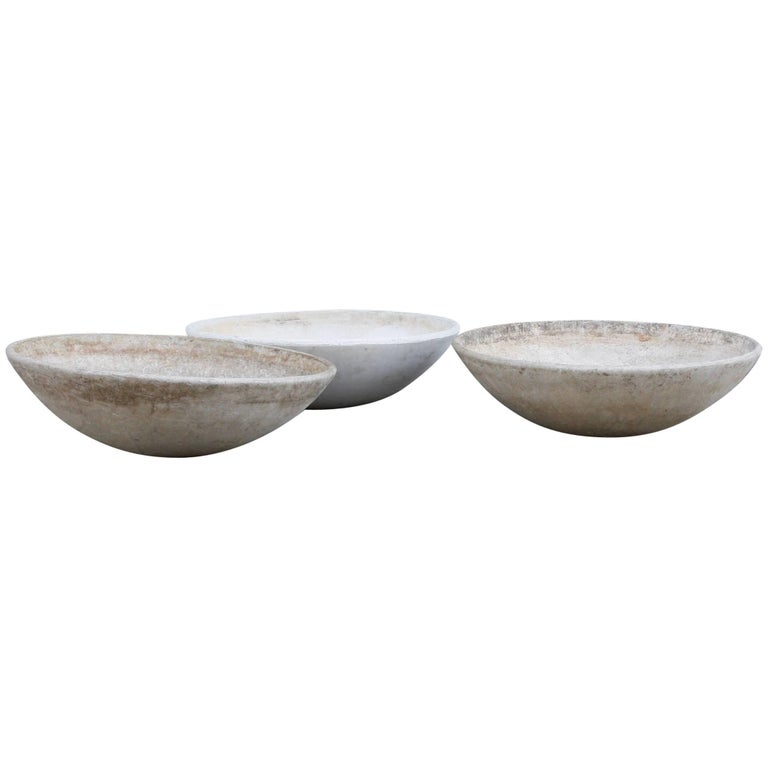 Willy Guhl Trio of Large Vintage Modernist 1950s Concrete Planters by Eternit