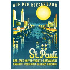 Original Vintage Art Deco Travel Poster for St Pauli Auf Der Reeperbahn at Night