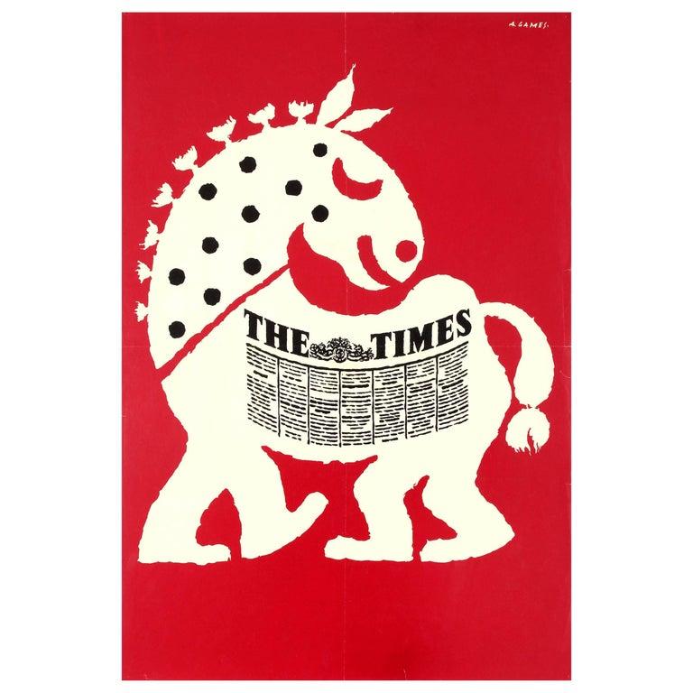 Original Vintage Advertising Poster for the Times Newspaper Horse Design - Games For Sale