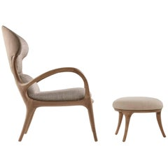 Saturn Armchair with Ottoman in Solid American Walnut and Upholstery by Ceccotti
