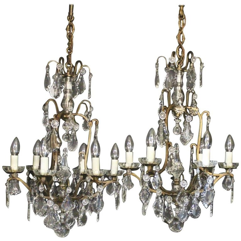 French Pair of Gilded Six-Light Birdcage Antique Chandeliers