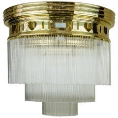 Big Jugendstil Ceiling Lamp with Glass Sticks and Opaline Glass Stones