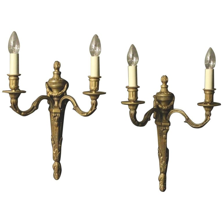 French 19th Century Pair of Bronze Antique Wall Sconces