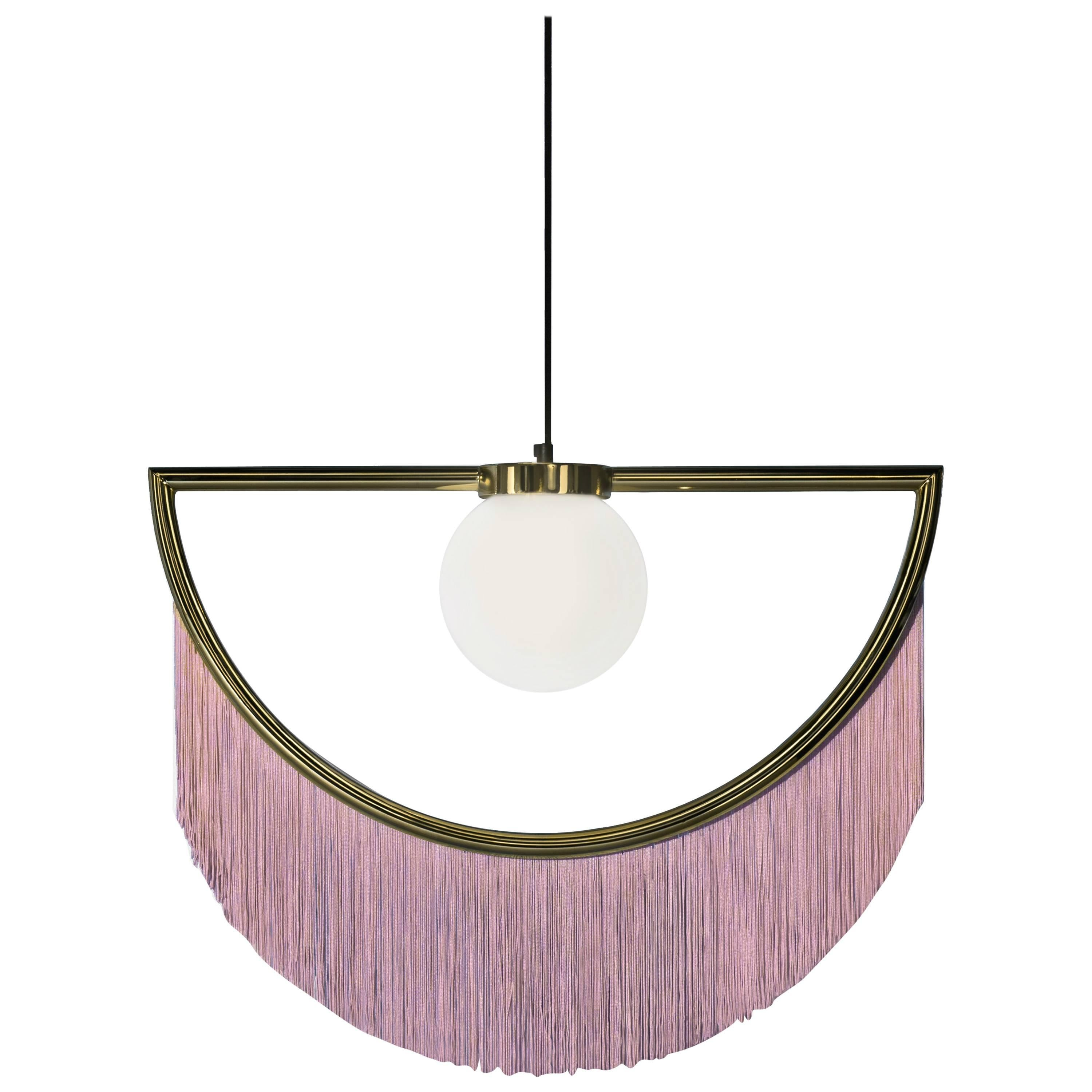 Wink Gold-Plated Pendant Lamp with Pink Fringes