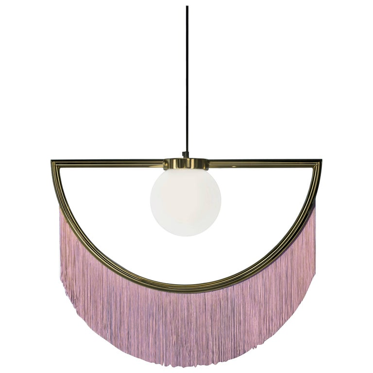 Wink Gold-Plated Pendant Lamp with Pink Fringes For Sale
