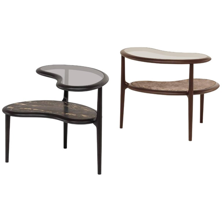 Fagiolo Side Table in American Walnut with Glass and Marble by Ceccotti
