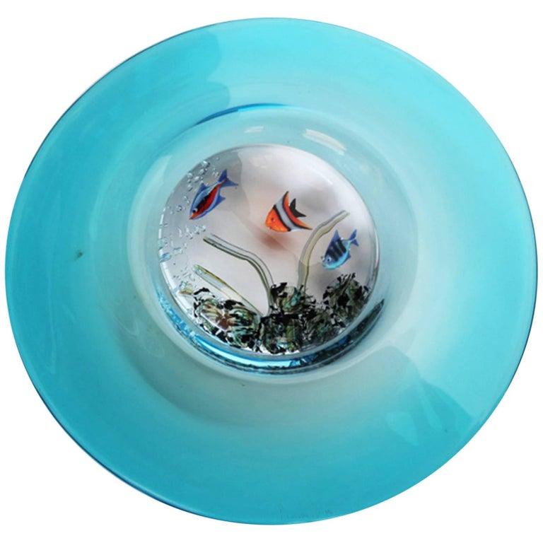Romano Dona, Murano Glass, Fish Aquarium Disc Sculpture, 20th Century