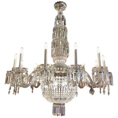 19th Century Bohemian Twelve-Light Cut Crystal Chandelier from Czech Republic