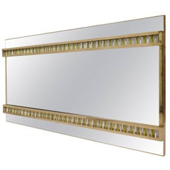 1950 Murano Midcentury Brass and Glass Wall Mirror