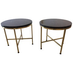 Sophisticated Rare Pair of Paul McCobb Round Side Occasional Drinks Tables