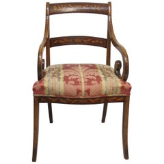 Dutch Mahogany and Satinwood Marquetry Inlay Armchair, circa 1800