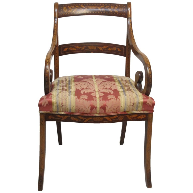 Dutch Mahogany and Satinwood Marquetry Inlay Armchair, circa 1800 For Sale