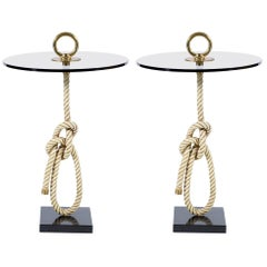 "Midcentury Pair of Round ""Rope"" Side Table Bronze Handles Banci Firenze, Italy"
